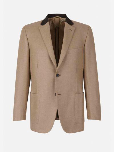 Herringbone camel leather jacket