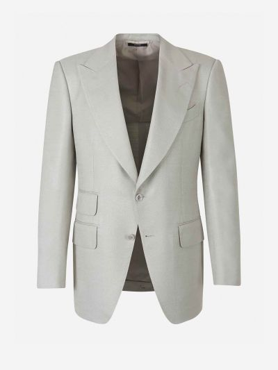 Wide Lapel Silk Blazer