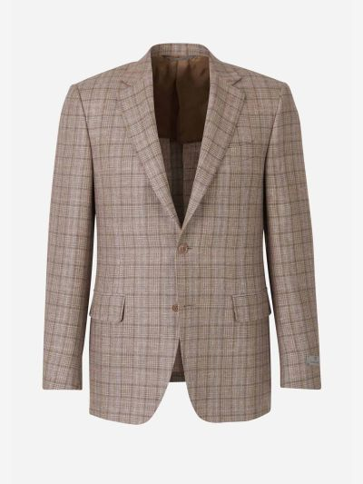 Checked Wool and Linen Blazer
