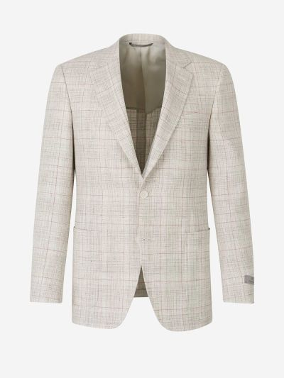 Linen and Wool Checked Blazer