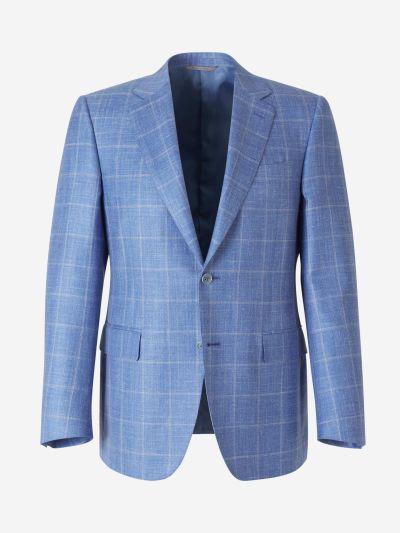 Plaid Wool and Silk Blazer