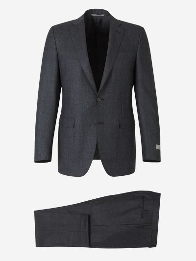 Suit with micro-dot and check motif