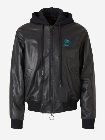 Tape Arrows Leather bomber Jacket