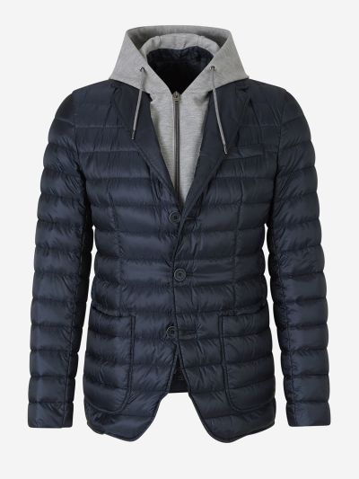 Quilted Jacket with Knit Hood