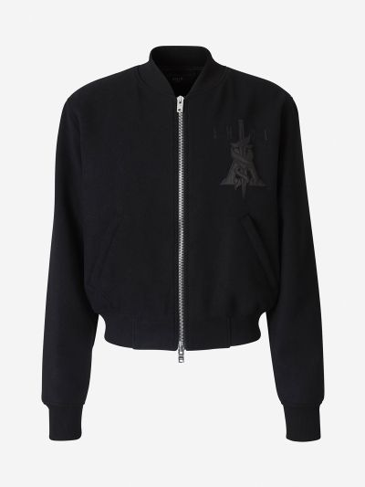 Leather and embroidered Bomber jacket