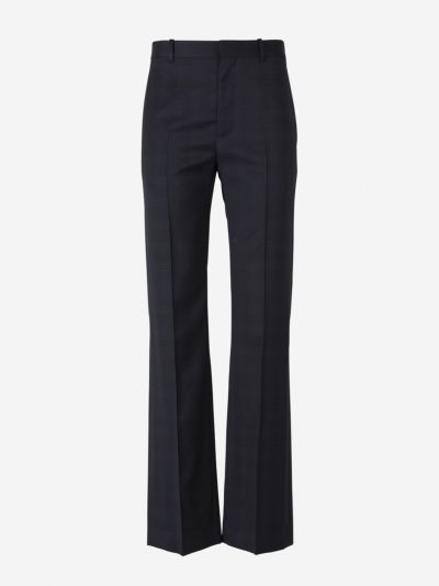 Virgin Wool Check Trousers