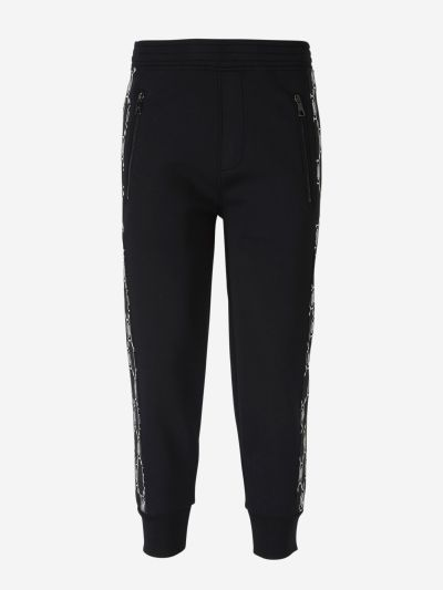 Joggers with jacquard monogram strips