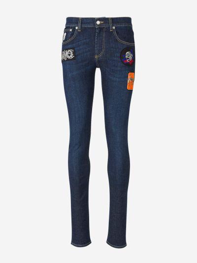 Patch skinny jeans