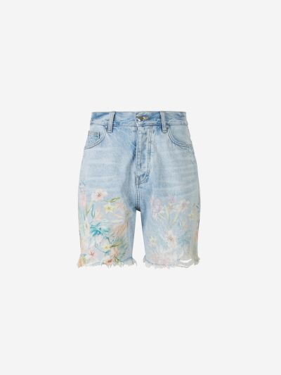 Flowers Denim Shorts