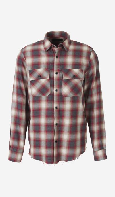 Checkered shirt with embroidered logo