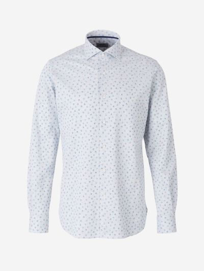 Pique Knit Shirt with Rose Pattern
