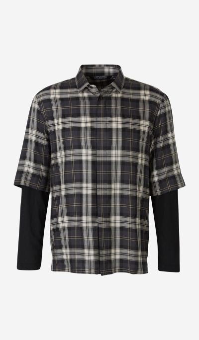 Superposed Plaid Shirt