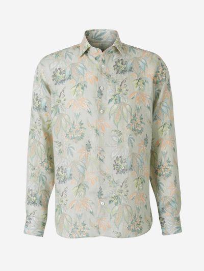 Floral Motif Linen Shirt