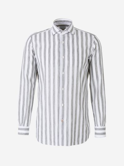 Striped Linen and Cotton Shirt
