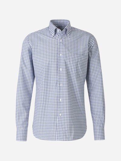 Checked Motif Cotton Shirt