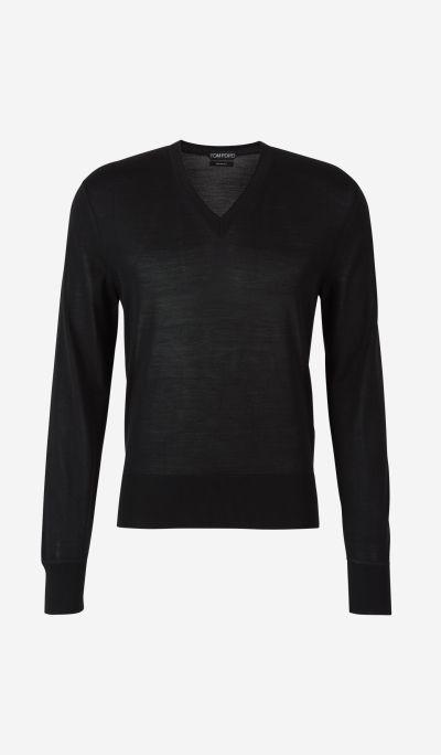 "Silk jumper with ""V"" neck"