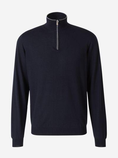 Zip Neck Wool Sweater