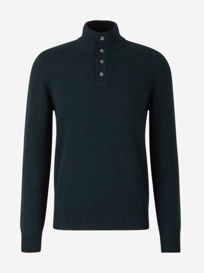 Button Neck Wool Jumper