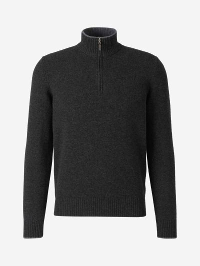 Contrast Neck Wool Cardigan