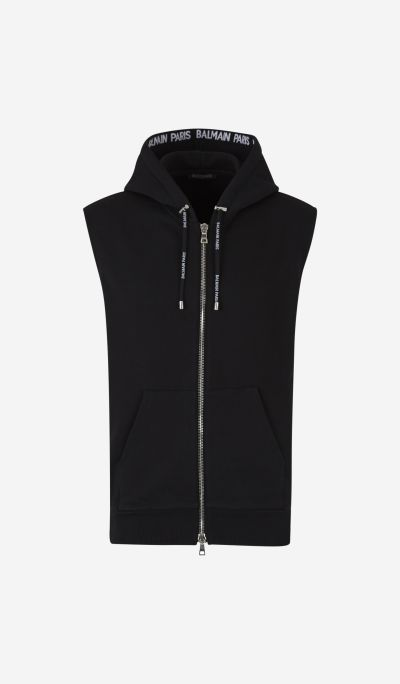 Sleeveless sweatshirt with zip