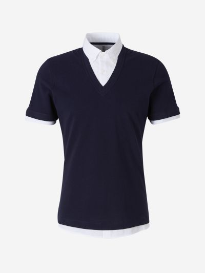 Knit Overlap Polo Shirt