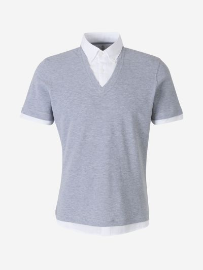 Knit Overlap Polo Shirt