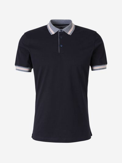 Cotton Polo Shirt with Ribbed, Striped Collar
