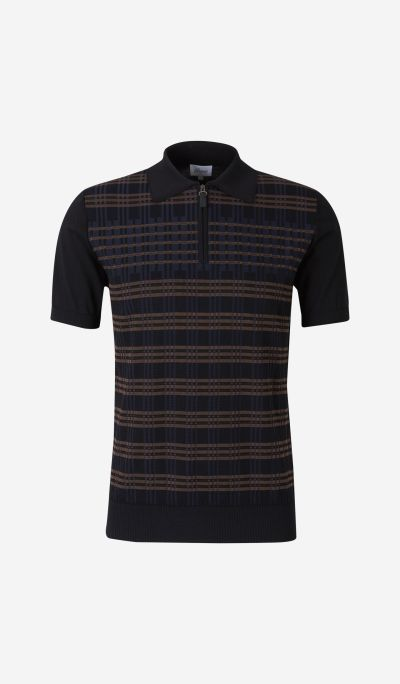 Jacquard Knit Polo Shirt with Zip