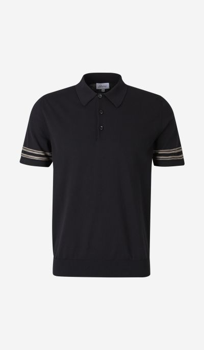 Knit Polo Shirt with Striped Sleeves