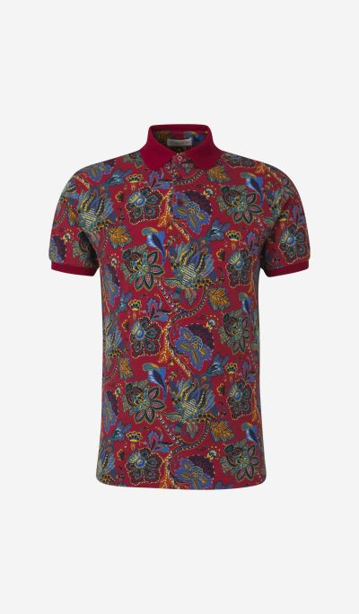 Floral Print Pique Polo Shirt