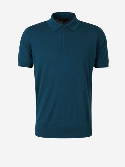 Wool Zip-Up Polo
