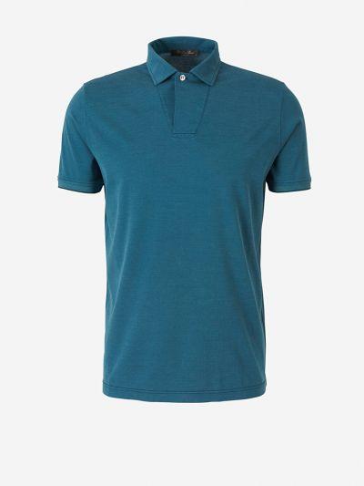 Contrast Stitching Cotton Polo Shirt