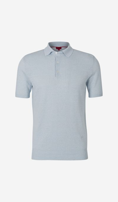Linen and Cotton Knit Polo Shirt