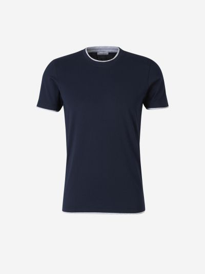 Collar and Sleeve Trim T-shirt