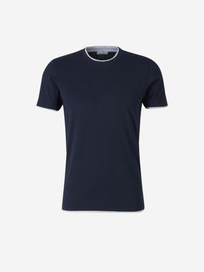 Collar and Sleeve Trim T-shirt