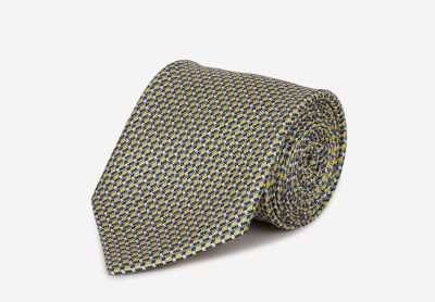 Silk and linen tie with a geometrical pattern