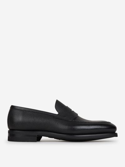 Pebbled grain leather moccasins