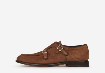 Suede leather shoes with buckles
