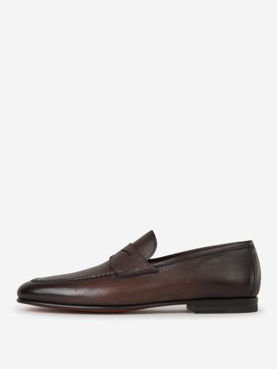 Grained Leather Loafers