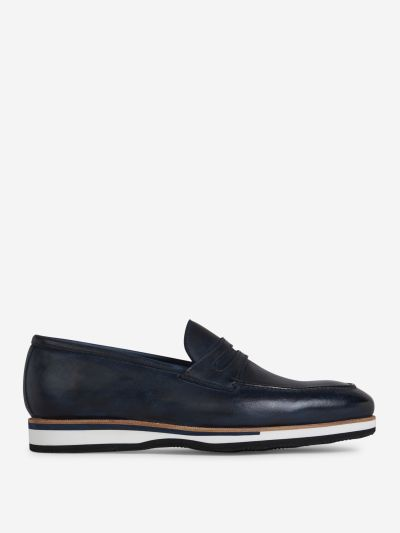 Constrast Sole Leather Loafers