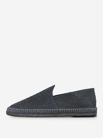 Snake Print Leather Espadrilles