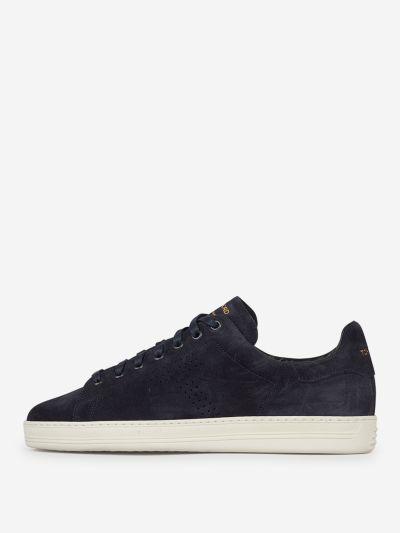 Suede leather monogram sneakers