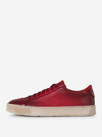 Die Cut Leather Sneakers