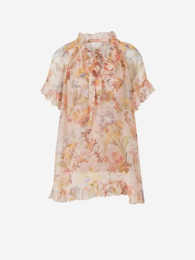 Flower gauze blouse