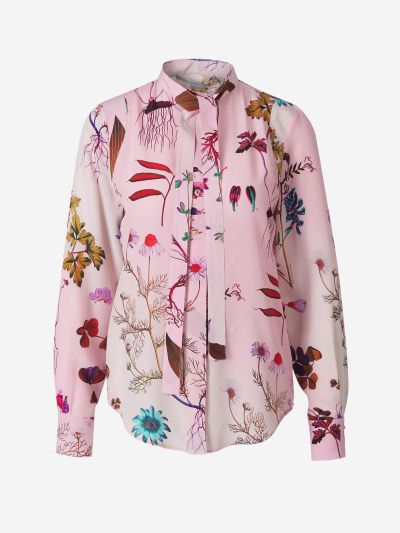 Floral Motif Blouse with Pussy Bow