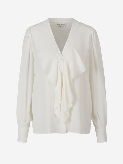 Crepe Blouse with Silk Ruffles