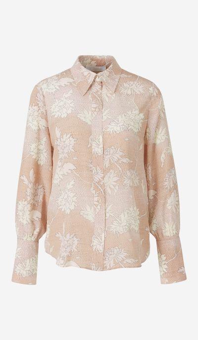 Floral Motif Silk Shirt