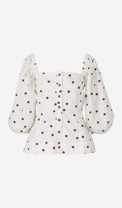 Polka Dot Cotton Blouse