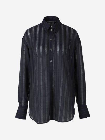 Camisa Ovesized Encaje Rayas