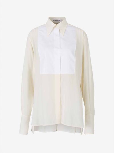 Silk-Crepe Collar Shirt